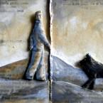 Paesaggio con cane, libro d'artista (bassorilievo), 2012