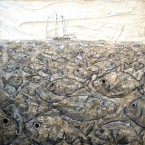 Fossa, tecnica mista su tavola, cm 80x120